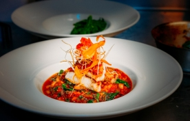 Blue Cod, on white bean, chorizo and spinach cassoulet
